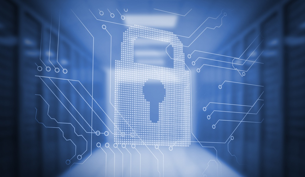 Digitally generated lock on circuit board in blue room.jpeg