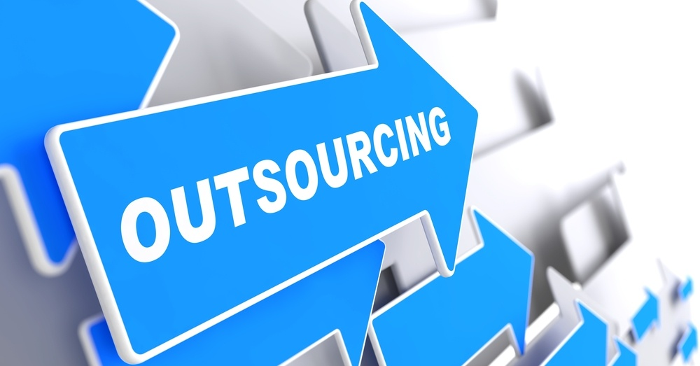 """Outsourcing - Business Background. Blue Arrow with """"Outsourcing"""" Slogan on a Grey Background. 3D Render..jpeg"""